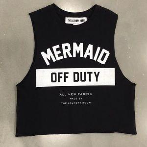The Laundry Room Mermaid Off Duty Black Crop Tank